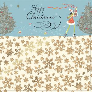 Skating Girl with Christmas Presents, Gold Foiling, Contemporary Design and Red Envelope KIS5